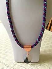 """An Agate Pendant on Turquoise/Red/Purple Kumihimo 25"""" Cord with Toggle Clasp"""