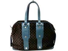 Auth JACQUES LE CORRE DarkBrown Light Blue Spawn &  Leather Handbag