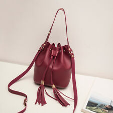 Fashoin Women Candy Color Casual One Shoulder Small Backpack Tassel Bucket BagCA