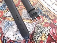 BLACK LEATHER ROTARY / TYPE WATCH STRAP / BAND SS BUCKLE SPRING BARS 18 20 22 mm