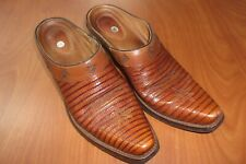 Ariat Handcrafted Brown Leather Lizard Western Cowgirl Mules Shoes 8