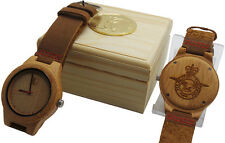 RAF ROYAL AIR FORCE Crest Wooden Wrist Watch Luxury Leather Crested Military