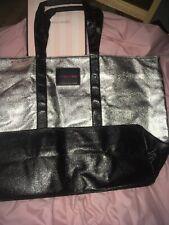 NWT VICTORIAS SECRET Silver Shiny Tote Bag Purse Shoulder Bag Beach Travel