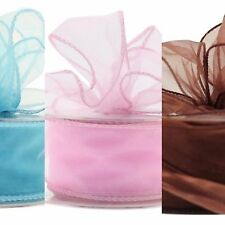 Organza Ribbon piece Sheer Wired edge 7cm wide Floristry Craft by metre colours