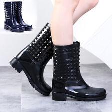 Women Ladies Rain Shoes Wellies Wellington Studded Fashion Ankle Boots Festival