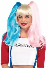 Wig Deviant Doll Harley Quinn Look 3 Color Pigtail Wig With Clip On Pigtails