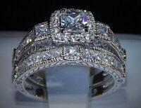 10k White Gold Princess-Cut Diamond Halo Bridal Set Engagement Wedding Ring