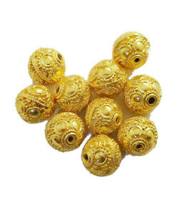 14 PCS 9MM SOLID COPPER BALI BEAD 18K GOLD PLATED 914 FUL-684