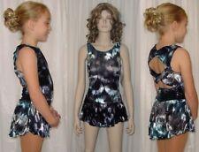 Mystic Twist Back BLUE Velvet Ice Skating Dress Dance Costume Child & Adult