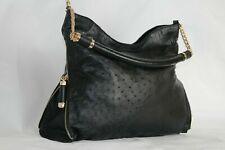 Authentic black Ostrich leather bag Luxury Lady's hand shoulder Designer bag