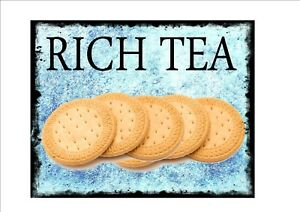 Vintage Rich Tea Biscuits Advertising Sign  reproduction metal sign, Advert