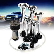 12V 5Pcs Trumpets Hazzard Loud Sound Air Horn Kit Silver Car Truck Trailer