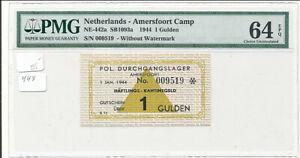 WWII Netherlands German Concentration Camp Amersfoort 1 Gulden PMG 64 EPQ