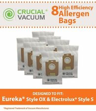 8 REPL Eureka Style OX & Electrolux Style S Allergen Paper Vac Bags Part # 61230