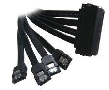 """30"""" 32pin SAS to 4 x SATA 32-pin SFF-8484 7-pin M-M by BattleBorn Cable - NEW"""