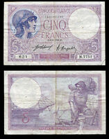 FRANCE 5 FRANCS 1921 P 72 HEAVY USED/CIRCULATED