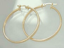 Classy Gold Hoops Large 3,4 cm Earrings Real Gold 585 Hoop Gold Earrings 14 KT