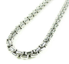 22 Inches 82 Gr Mens White Gold GP 925 Sterling Silver Round Box Germany Chain