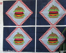American Diner Drive In Hamburger fabric panel wall hanging mini quilt Cranston