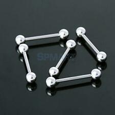 Bulk 5Pcs 14g Silver surgical steel Tongue Nipple Ring Barbell Ball Bars Jewelry