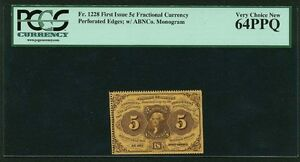1862-63  5 CENT FRACTIONAL CURRENCY FR-1228 CERTIFIED PCGS VERY CHOICE NEW-64PPQ
