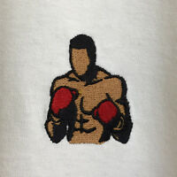 Muhammed Ali Retro Boxing Embroidered White Tee T-Shirt by Actual Fact