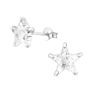 925 Sterling Silver Crystal Star Stud Earrings Gift Boxed For Men And Women
