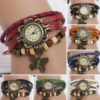 Fashion Retro Pendant Leather Weave Ladies Bracelet Butterfly Quartz Wrist Watch