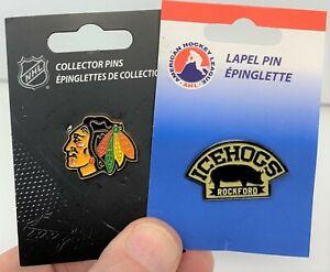 NHL-CHICAGO BLACKHAWKS -2 PIN COMBO-NHL LOGO+AHL AFFILIATE PINS (2xAS SHOWN)