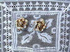 LOTTO 2 bottoni gioiello STRASS SWAROVSKY GRIGIO ORO vintage ANNI 70 BOUTON