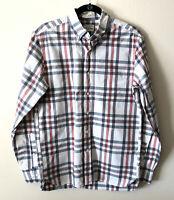 J. Crew Men's Slim Fit Medium Button Up Down Shirt Blue Red White Plaid Cotton