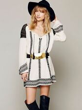 139333 New $148 Free People Wild Child Embroidered Embellished Tunic Dress XS