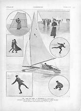 Jeux de Stockholm Championnat du Patin Patinage Glace Yachting Nord GRAVURE 1905