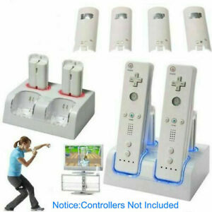 4x Rechargeable Battery Pack + Wii Controller Charger Dock Station for Nintendo