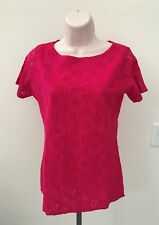 New Ellen Ashley Women's Lace Blouse Short Sleeve Pink XL 100% Nylon