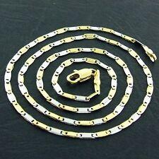 NECKLACE PENDANT CHAIN REAL 18K YELLOW WHITE G/F MULTI-TONE GOLD ITALIAN DESIGN