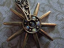 Western Spurs Pendant Spin Ant. Gold w Rhinestones Cowboy Charm Horse Rider 1 pc