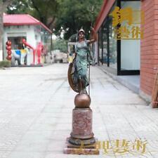 Western Art Deco Sculpture Pure Bronze marble Athena Statue Figurine