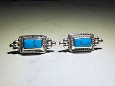 Silver and Turquoise Earrings Grc Marked Vintage Sterling