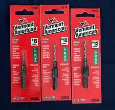 "NEW VERMONT AMERICAN COUNTERSINK DRILL BIT #6, 10, 12 RAPID FEED 1/4"" HEX SHANK"