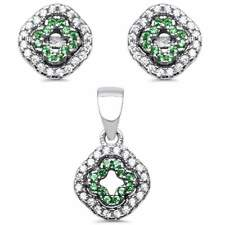 New Design Emerald .925 Sterling Silver Earring and Pendant Set