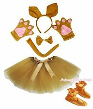 Headband Bow Tail Paw Shoes Gauze Skirt 6pc Kangaroo Child School Party Costume