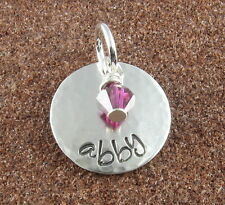 Personalized Sterling Silver Charm (Any Name) with Birthstone -FREE SHIPPING