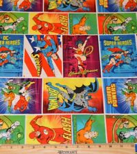 DC SUPERHERO FABRIC! 1/2 YARD! WONDER WOMAN~BATMAN~SUPERMAN~FLASH~AQUAMAN~MORE!