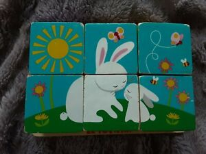 Le toy van wooden puzzle, vintage wooden cubes that turn to make other pictures