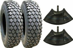 Two 4.80/4.00-8 Stud Tires Tiller 4.80-8 Tubes Gravely Go Kart Cart 480-8 480400