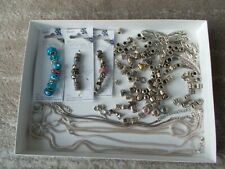 Lot 3 New Darice Metal Lined Beads + 103 loose beads +3 chains