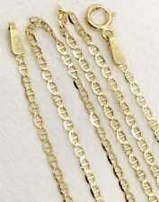"""14k Solid Yellow Gold 1.5 MM 18"""" Anchor Mariner Link Chain Necklace, Unisex"""