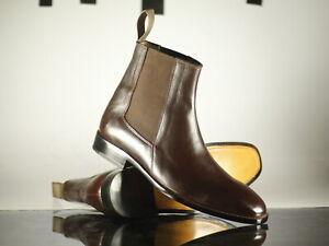Designer Handmade Men's Brown Chelsea Leather Ankle Boots, Men Designer Boots