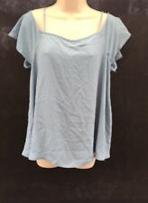 New ASOS Off Shoulder Duck Egg Blue Lose Fitting Top UK 12 CU75